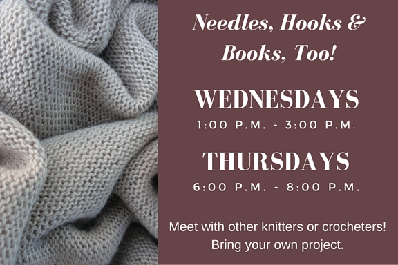 Needles, Hooks and Books, Too! flyer